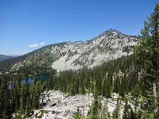 Grave Peak and Upper Wind Lake from The Friday Pass Trail.