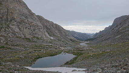 SMall tarn on way back to camp