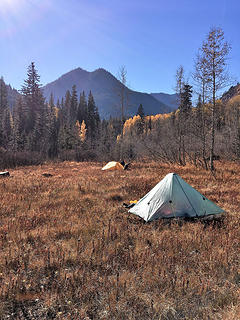 my new plexamid tent in the meadow