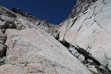 Slab at 8400'.  First crack dead-ended but second one led to a ledge that went back to the gulley