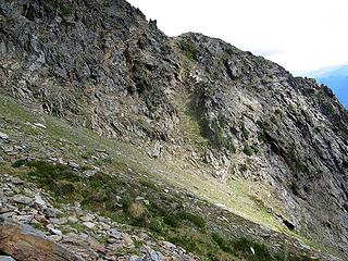 The gully up to the notch above camp