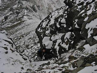 Yana ascends gully