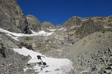 At the moraine. Sad remnants of a dying glacier are all that are left here.