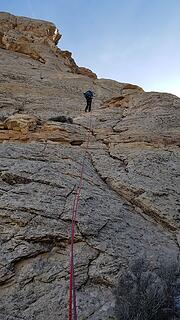 Rapelling the long 2nd pitch