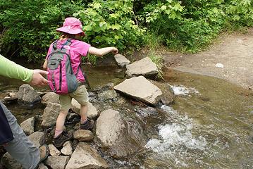 Annika crossing creek