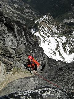 Dicey near top of north side gully