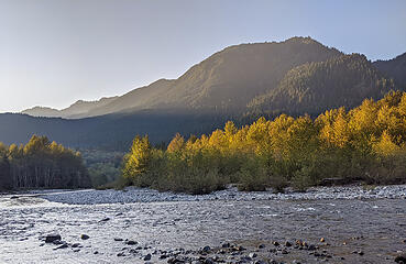 Finally we reach the Middle Fork river again at 5:45 pm, about an hour before sunset.