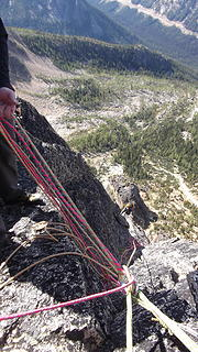 Looking down from the belay just below Paisano's summit.