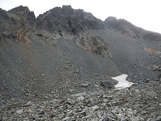 entrance to gully above talus on right