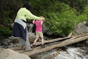 Jessie helps Annika over Bridge