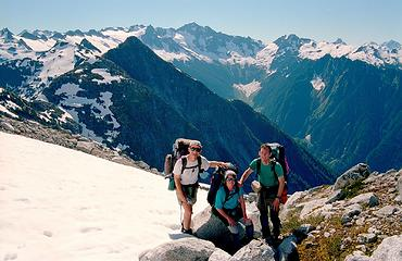 7/04/02 exiting the Backbone Ridge Traverse, after traversing over or behind pretty much all the peaks in the background.