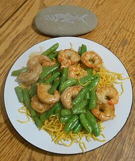 wild Argentine shrimp stir fry with fish rock 101020