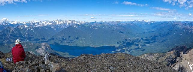 Hozomeen summit pano. Chilliwack mountains and Ross Lake