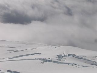 Skiers far below