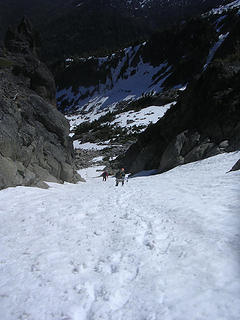 Coming down the snow gully... still a little too firm