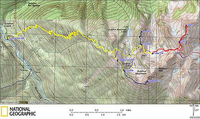 Sulphur 7140s GPS Track (blue and purple lines are from other trips in the past)