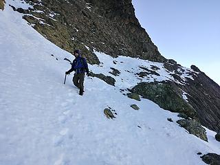 Snowy ledge traverse on the way back