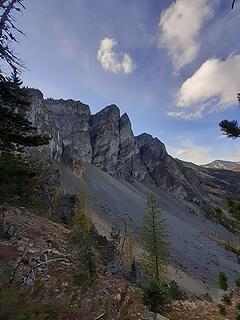 Looking back up at Three Pinnacles
