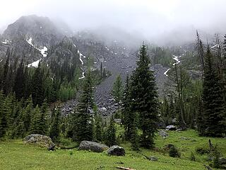North face of Billy Goat Mountain near the pass in mixed rain/snow