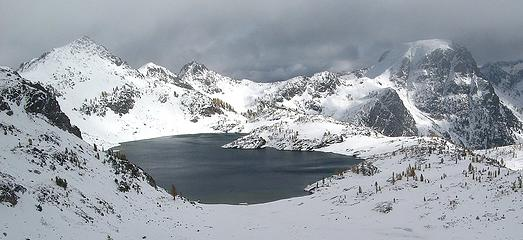 Upper Ice Lake & North Spectacle Butte, from 7600 Col
