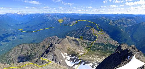 Hozomeen summit view with skyline route