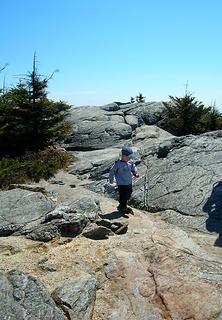 ascending the summit ridge