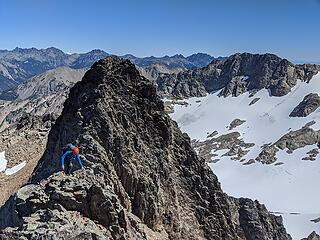 Making his way up to the summit of West Peak