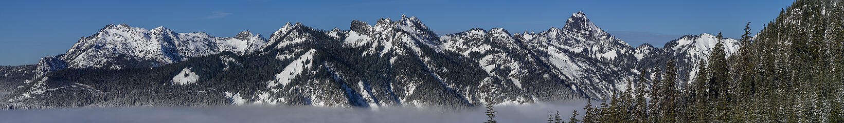 A view North to some Snoqualmie Pass Peaks