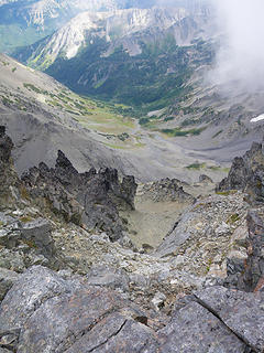 looking down the steep gully
