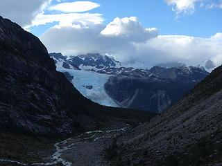View back towards Glacier Leones and Cerro Mocho