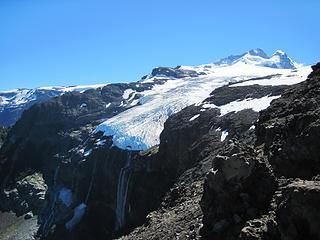 "El Glaciar Castano Overo and the origen of the name ""El Tronandor"" (the thunderer) as ice falls hundreds of feet."