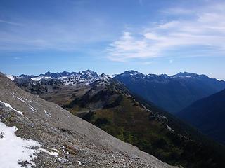 snow-dusted view below Sentinal Peak
