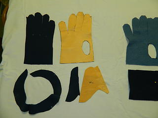 cut out pieces for shelled fleece glove