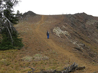 EastKing on steeper dirt section nearing Miller Peak summit. You are about .20 miles from summit here.