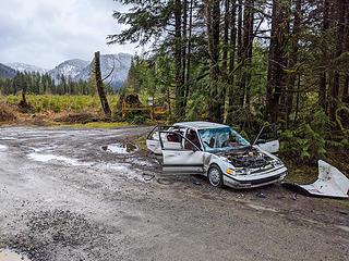 Trashed car at the Sunday Lake trailhead