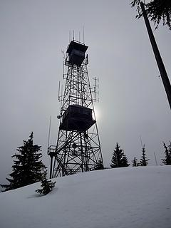 A lower and upper lookout. The tower is used for antennas now.