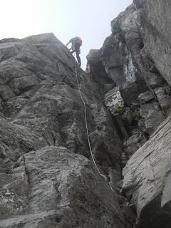 Steven leading 2nd crux
