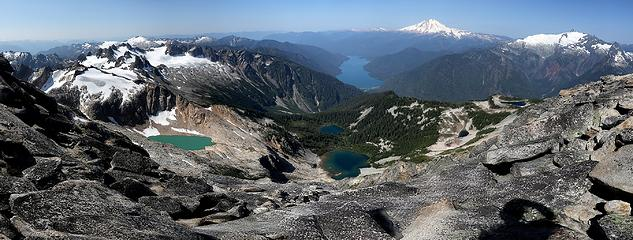 Looking down at all the Blum Lakes, plus Baker Lake.  Our camp was at the farthest righthand lake near the ridge crest.
