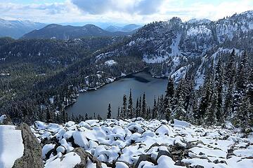 Looking down at Rachel Lake