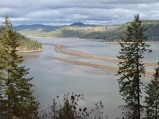The southern end of Lake Coeur d'Alene. The St Joe River enters the lake here and has created the sand bars.