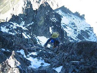 Jake downclimbing Clark mtn in the Olys in Nov