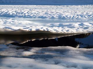 still frozen white rock lake