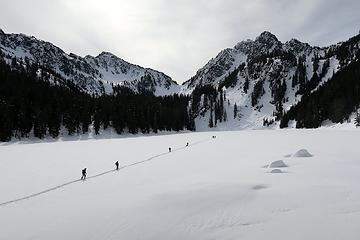 Walking across Glacier Lake