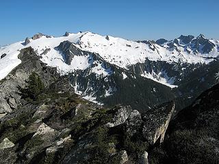 The steep edge of TT's west ridge
