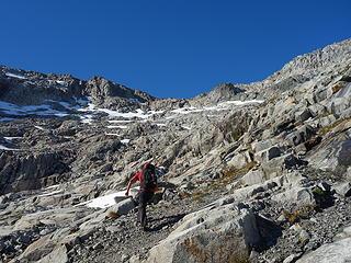 Scrambling up the glacier slabs