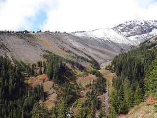 The Clark Creek drainage with a little early fall snow higher up
