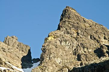 Zoom of Chimney Rock false summit.