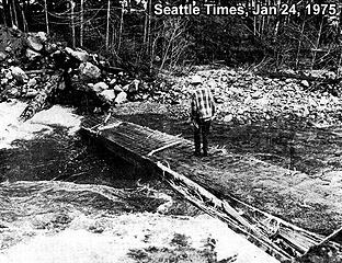 1975 Taylor River Bridge washout. Seattle Times, Jan 24, 1975