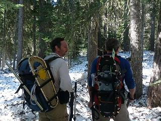 Snowshoes firmly attached to our packs