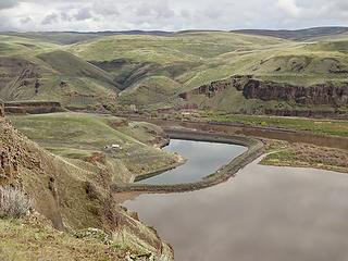 Marmes Pond. Marmes Rock Shelter is underwater there. The Palouse River is directly behind.